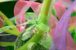 Vase Organzaband grün 300x200 Festliche Tische ausgefallen mit Organza dekorieren dekoideen